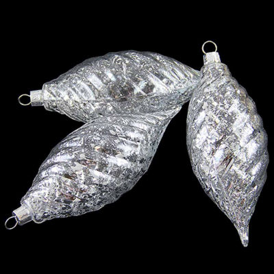 3ct Clear Spiral Finial Shatterproof Christmas Ornaments with Silver Speckles