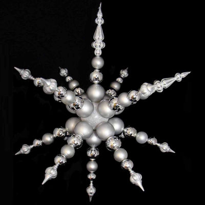 "43"" Huge White and Silver Commercial Shatterproof Snowflake Christmas Ornament"""