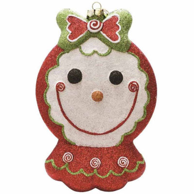 """8.5"""" Merry & Bright Red  White and Green GlitteredShatterproof Gingerbread Girl Christmas Ornament"""""""