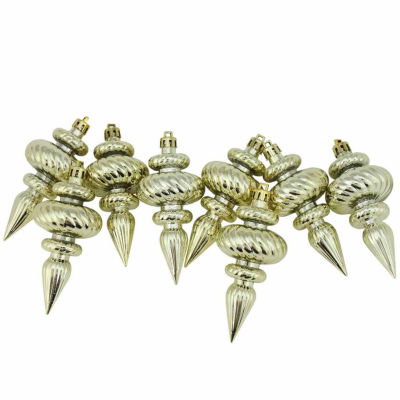 """8ct Shiny Champagne Gold Swirl Shatterproof Christmas Finial Ornaments 4.25"""""""