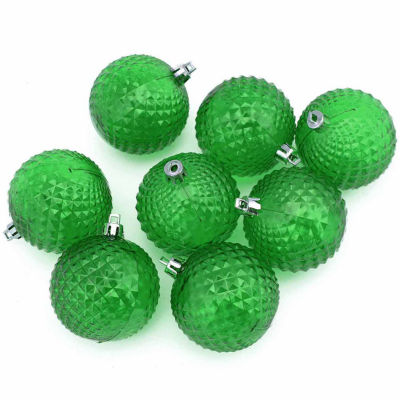 8ct Christmas Green Transparent Diamond Cut Shatterproof Christmas Ball Ornaments 2.5""