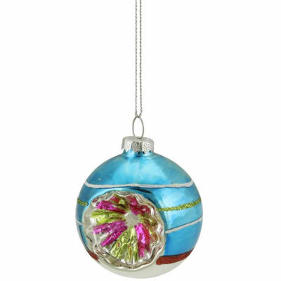 "Blue  Green and Red Glittered Witches Eye Glass Ball Ornament 2.75"" (70mm)"""