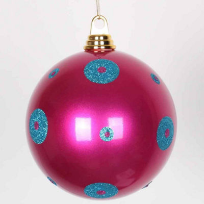 "Candy Cerise Pink w/ Turquoise Blue Glitter PolkaDots Commercial Size Christmas Ball Ornament 8""(200mm)"""