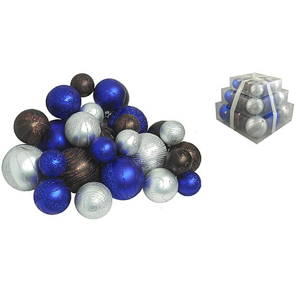 Pack of 27 Shatterproof Blue  Chocolate & Silver Christmas Ball Ornaments