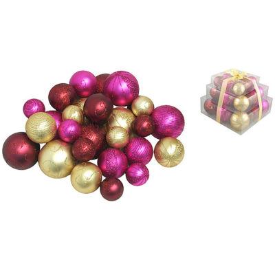 Pack of 27 Shatterproof Merlot  Gold & Fuschia Christmas Ball Ornaments