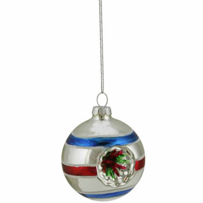 "Silver Red and Blue Glittered Witches Eye Glass Ball Ornament 2.75"" (70mm)"""