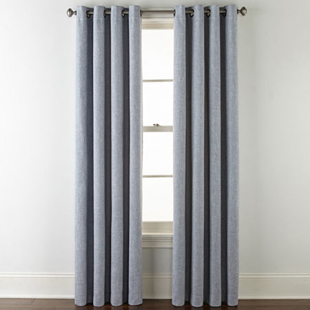 JCPenney Home Sullivan Blackout Grommet-Top Single Curtain Panel, One Size , Blue