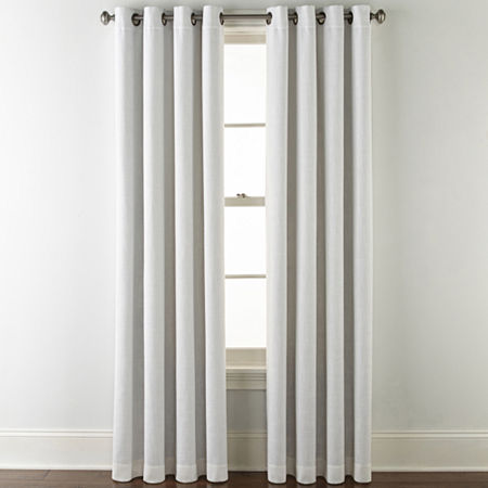 JCPenney Home Sullivan Blackout Grommet-Top Single Curtain Panel, One Size , White