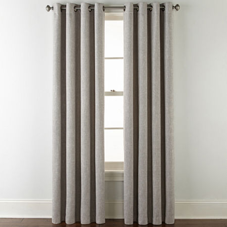 JCPenney Home Sullivan Blackout Grommet-Top Single Curtain Panel, One Size , Gray