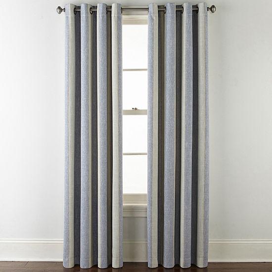 JCPenney Home Sullivan Stripe Blackout Grommet-Top Curtain Panel