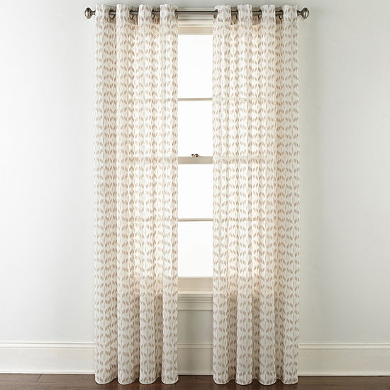 JCPenney Home Rockford Sheer Grommet-Top Single Curtain Panel