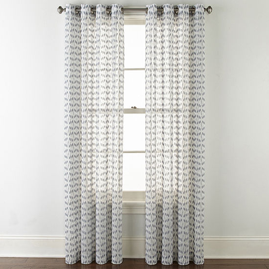 JCPenney Home Rockford Sheer Grommet-Top Curtain Panel
