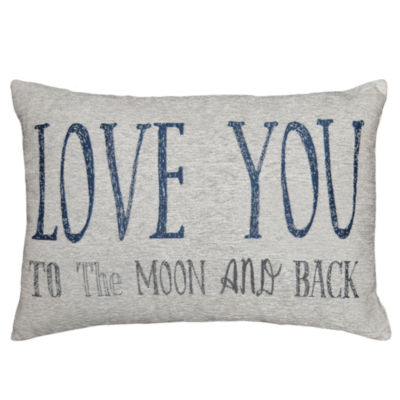 Love You To The Moon Rectangular Throw Pillow