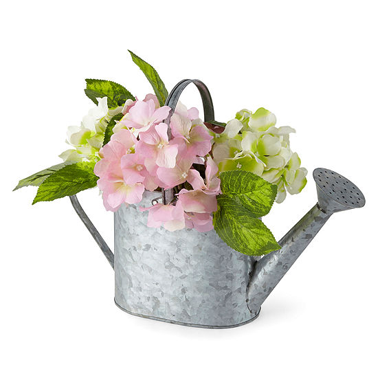 JCPenney Home Spring Galvanized Pot With Plant Floral Arrangement