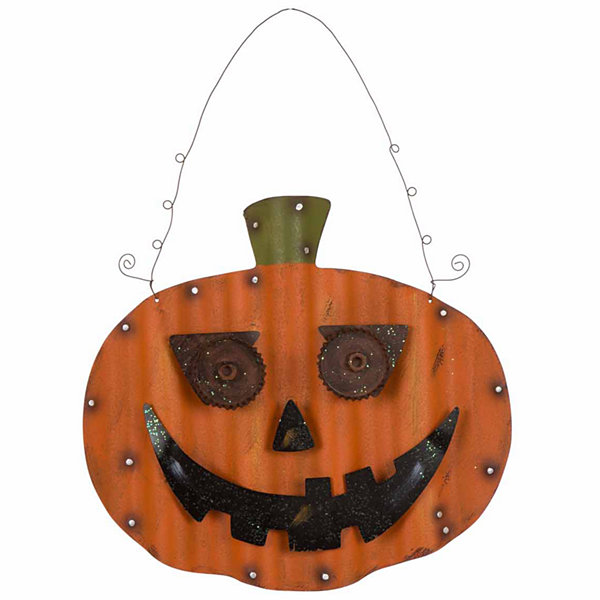 Glitzhome Iron Pumpkin Wall Sign