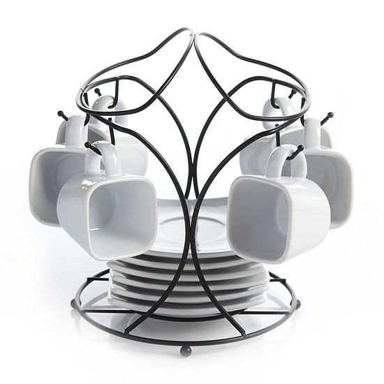 Gibson Elite Gracious Dining 3.5oz Espresso and Saucer Set with Metal Rack