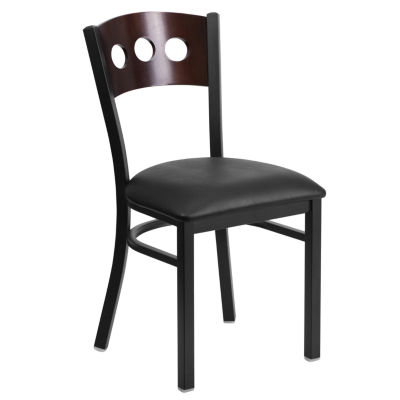 HERCULES Series 3 Circle Back Metal Restaurant Chair - Walnut Wood Back with Vinyl Seat