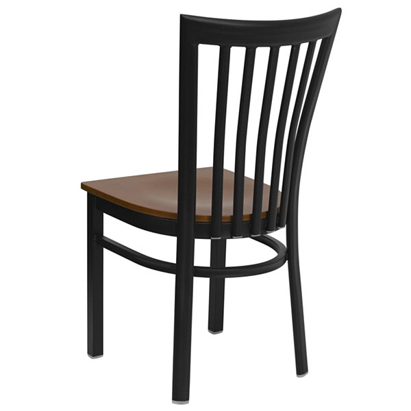 HERCULES Series School House Back Metal Restaurant Chair with Wood Seat