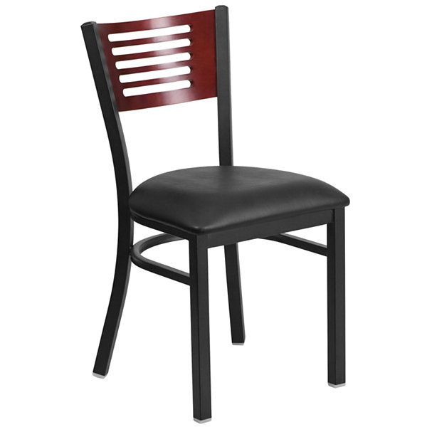 HERCULES Series Slat Back Metal Restaurant Chair - Mahogany Wood Back with Vinyl Seat