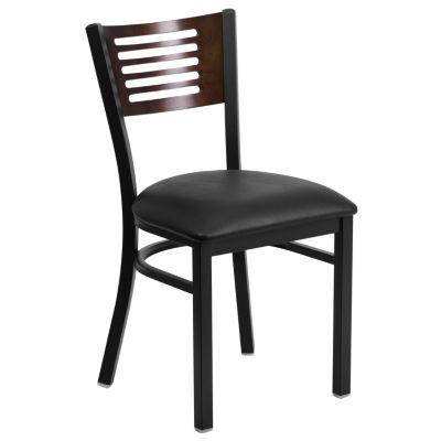 HERCULES Series Slat Back Metal Restaurant Chair - Walnut Wood Back with Vinyl Seat