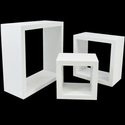Sorbus Floating Box Shelves-Features Shadow Box Cube Square Frame Design - Set of 3