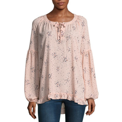 a.n.a Long Sleeve Lace Up Peasant Top