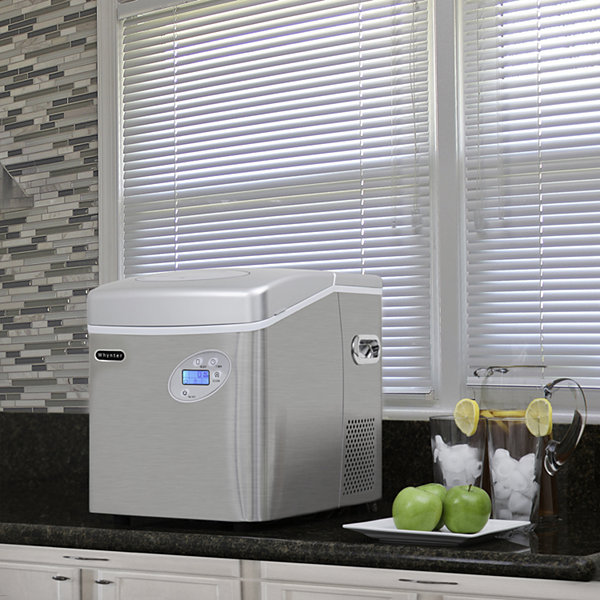 Whynter Portable Ice Maker with 49lb Capacity Stainless Steel with Water Connection