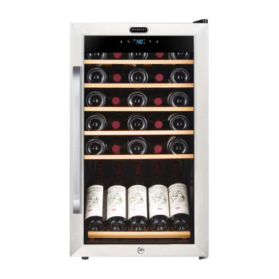 FWC-341TS Whynter 34 Bottle Freestanding Stainless Steel Wine Refrigerator with Display Shelf and Digital Control