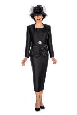 Giovanna Collection Women's Cut-Out Detail Embellished 3-Piece Skirt Suit- Plus