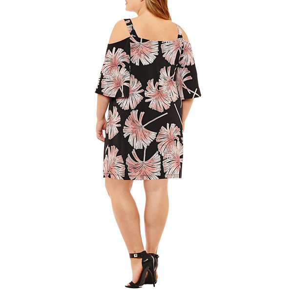 Robbie Bee 3/4 Sleeve Floral Shift Dress - Plus