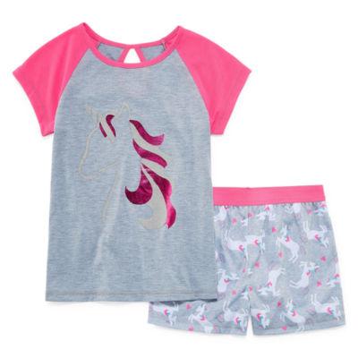 Jelli Fish Kids Unicorn 2pc Short Pajama Set - Girls