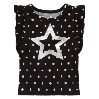 Okie Dokie Flutter Sleeve Short Sleeve T-Shirt-Baby Girls NB-24M