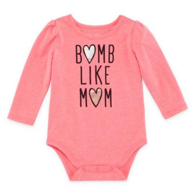 Okie Dokie Smock Long Sleeve Bodysuit - Baby Girl NB-24M