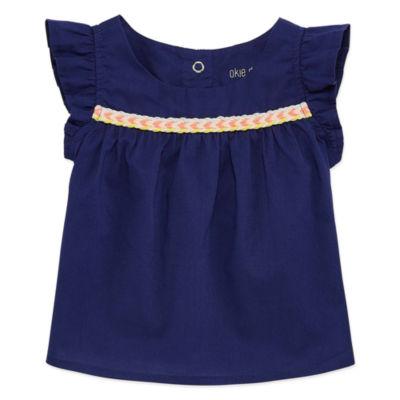 Okie Dokie Tassle Short Sleeve Babydoll Top - Baby Girl NB-24M
