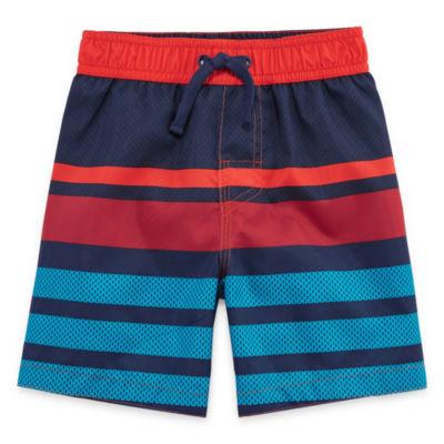 Okie Dokie Stripe Swim Trunk-Toddler Boys