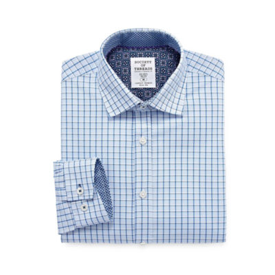 Society Of Threads Dress Shirt Long Sleeve Woven Checked Dress Shirt - Slim