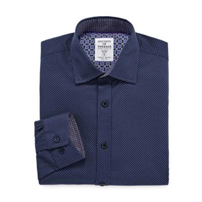 Society Of Threads Society Of Threads Dress Shirt Mens Spread Collar Long Sleeve Stretch Dress Shirt - Slim