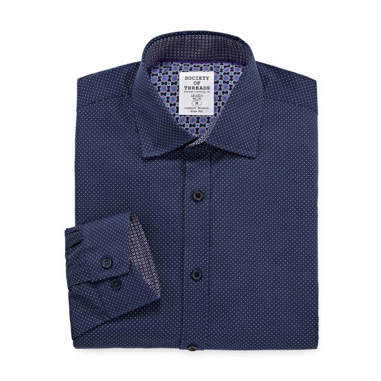 Society Of Threads Society Of Threads Dress Shirt Long Sleeve Woven Pin Dot Dress Shirt - Slim