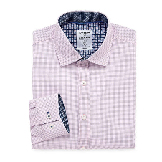 Society Of Threads Society Of Threads Dress Shirt Long Sleeve Woven Gingham Dress Shirt - Slim