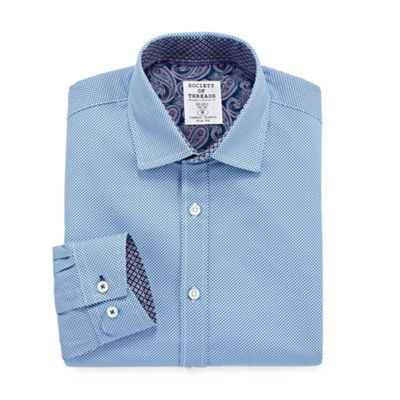 Society Of Threads Dress Shirt Long Sleeve Woven Circles Dress Shirt - Slim