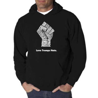 Los Angeles Pop Art Love Trumps Hate Fist Logo Hoodie -  Men's Big and Tall