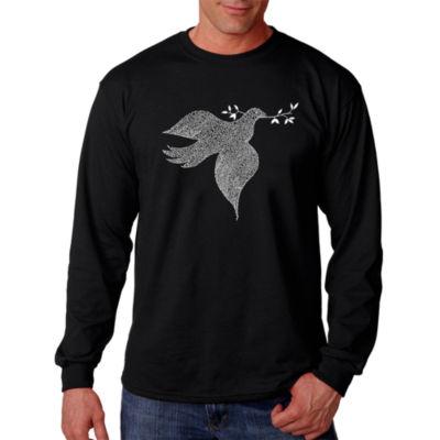 Los Angeles Pop Art Dove Word Art Long Sleeve T-Shirt- Men's Big and Tall