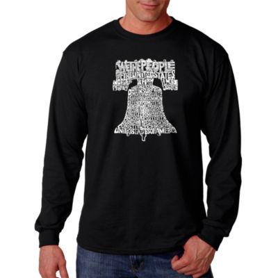 Los Angeles Pop Art Liberty Bell Word Art Long Sleeve T-Shirt- Men's Big and Tall