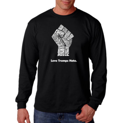 Los Angeles Pop Art Love Trumps Hate Fist Word ArtLong Sleeve T-Shirt