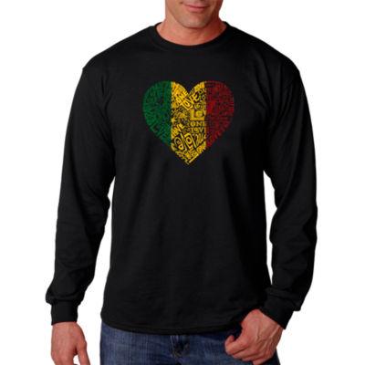 Los Angeles Pop Art One Love Heart Word Art Long Sleeve T-Shirt- Men's Big and Tall