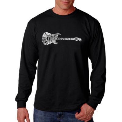 Los Angeles Pop Art Rock Guitar Word Art Long Sleeve T-Shirt- Men's Big and Tall