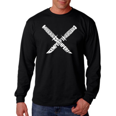 Los Angeles Pop Art Semper Fi Word Art Long SleeveT-Shirt- Men's Big and Tall