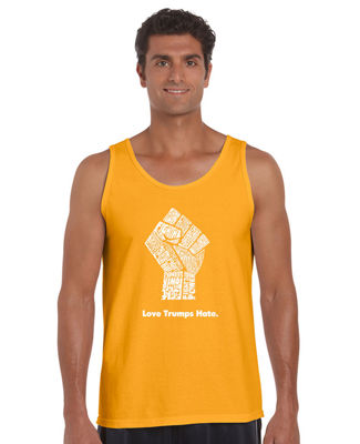 Los Angeles Pop Art Love Trumps Hate Fist Tank Top Big and Tall