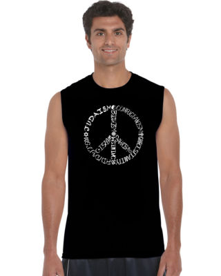 Los Angeles Pop Art Different Faiths Peace Sign Sleeveless Word Art T-Shirt  Men's Big and Tall