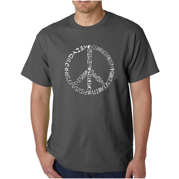 Los Angeles Pop Art Different Faiths Peace Sign Logo Graphic Word Art T-Shirt- Men's Big and Tall